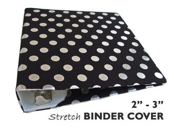 "Planner Cover BLACK SILVER DOTS Stretch Fabric Binder Cover 2""-3"" Wide Binder, Full-Size Planner Binder, Scrapbook Album Cover, Binder Album"