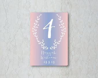 Serenity & Rose Quartz Table Number