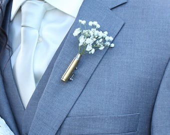 Bullet Boutonniere - Boutineers for Wedding - Bullet Boutineer - rustic boutonniere - Rustic Bullet Boutonniere - bullet boutineers