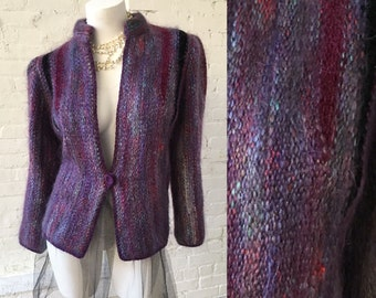 1980s Vintage Purple Sweater with Single Front Button