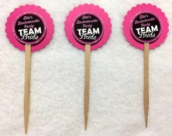 Set Of 12 Personalized Bachelorette Team Bride Cupcake Toppers (Your Choice Of 12)
