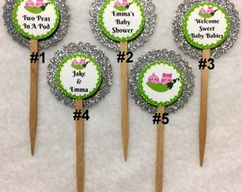 Set Of 12 Personalized Two Peas In A Pod Boy & Girl Twins Baby Shower Cupcake Toppers (Your Choice Of Any 12)