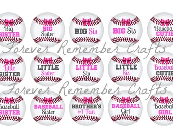INSTANT DOWNLOAD Sisters Baseball 1 Inch Bottle Cap Image Sheets *Digital Image* 4x6 Sheet With 15 Images