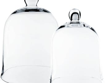 "Glass Bell Cloche Dome Set of 2 pcs. H-12"" & H-16"" Cloches Set. Item # GCL101/16/02"