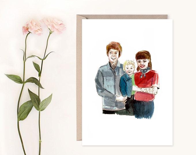 COUPLE PORTRAIT Watercolour Custom Illustration, Valentine's Gift, Girlfriend Gift, Boyfriend Gift, Custom Valentines Card, Custom Couple