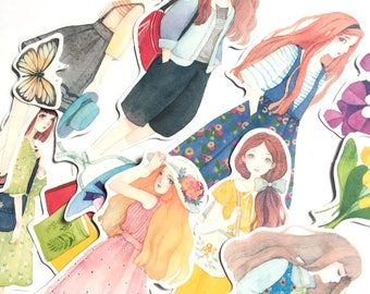Kawaii girl stickers