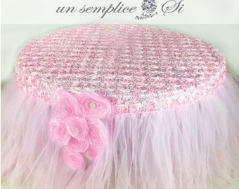 Tulle Tutu Tablecloth, Rosette Table Cap, Tulle and Roses Table Cloth