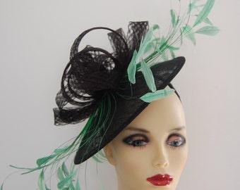 Black & Emerald green saucer hatinator by Hats2go