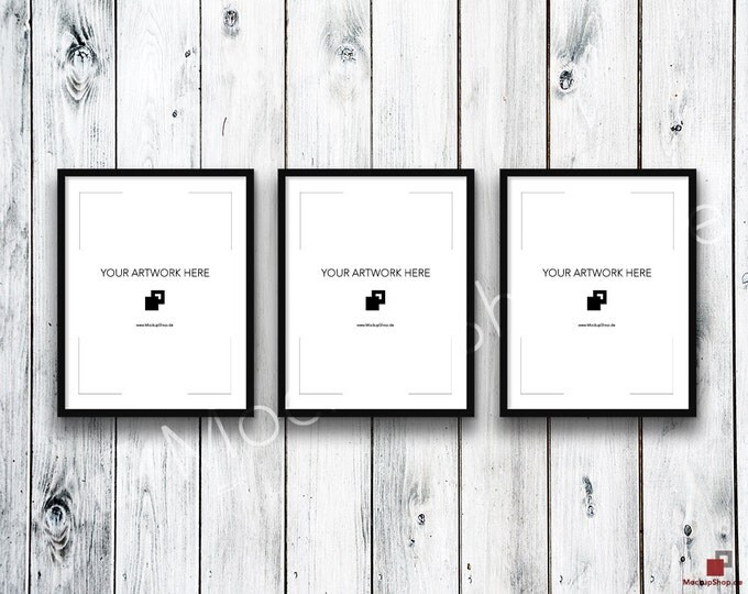 11x14 Set of 3 FRAME MOCKUP BLACK / Styled Photography Poster Mockup, old wooden grey wall, Framed Art, Instant Download / Frame Mockup