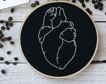 Anatomical Heart Embroidery // Black and White Embroidery // Biology Embroidery // Embroidery Pattern // Embroidery Design
