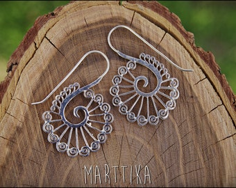 Silver earrings. Henna design spiral. Tribal jewelry. Boho style. Ethnic. Gypsy