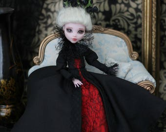 Gothic dress with collar for  Monster High doll 1/6 size