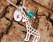 Sterling Silver Personalised Filigree Giraffe Necklace with Birthstone Swarovski Crystal and Impressed Initial Tag Birthday Gift with Box