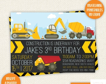 Construction birthday invitation, construction party, construction birthday, Truck invitation, dump truck party, Printable, Excavator