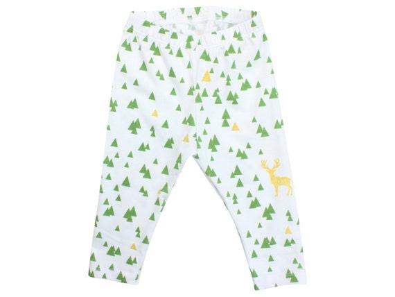 Deer Baby Leggings Christmas Leggings Green Gold Leggings Girl Leggings Holiday Leggings Christmas Baby Outfit First Christmas Outfit