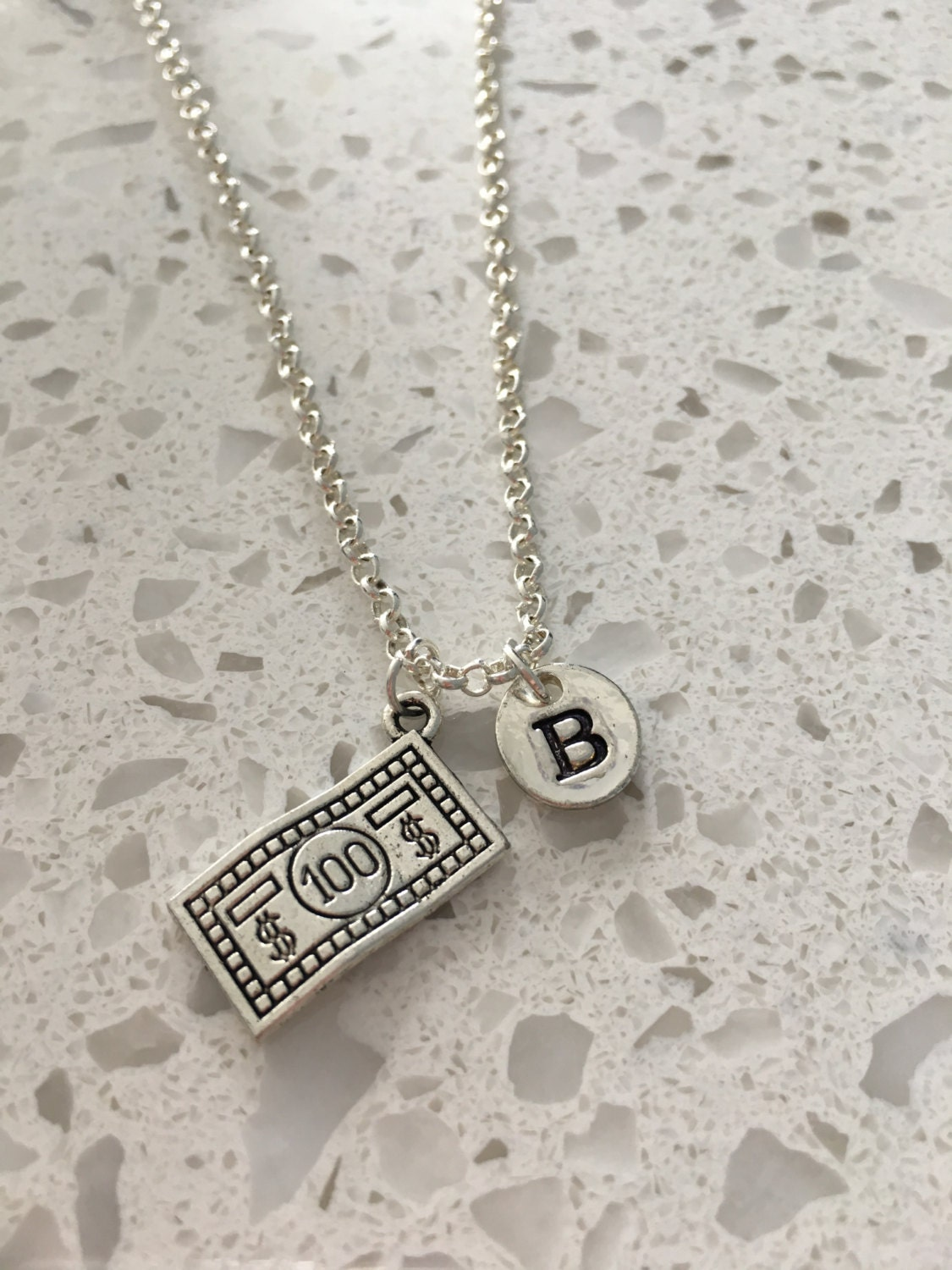 100 dollar bill initial necklace dollar bill jewelry silver