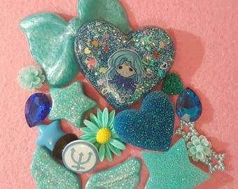 Sailor Neptune decoden custom resin set bling handmade phone case Iphone Samsung Galaxy anime manga Teal Blue Michiru Kaioh Sailor Moon