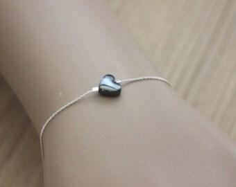 Sterling Silver bracelet with hématite heart - black heart - Minimalist Bracelet - love Bracelet - valentine Bracelet - fine silver bracelet