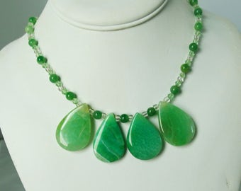 Green Agate Crystal Sterling Silver Necklace