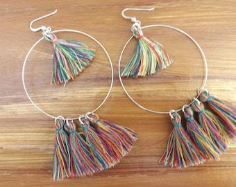 Tassel earrings, hoop tassel earrings, quirky tassel earrings, summer earrings, fun earrings, tassel jewellery, boho earrings