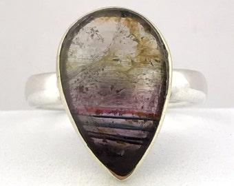 Madagascan Liddicoatite Tourmaline, 14K Gold Setting, Sterling Silver Ring. Size UK-M, US-6.25.