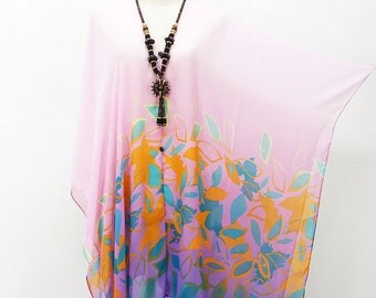 Kimono Beach Cover up Tunic Bikini pink kaftan Hippie Boho Comportable Topdress Maternity Mini Sheer Dress Plussize seethrough Sexy