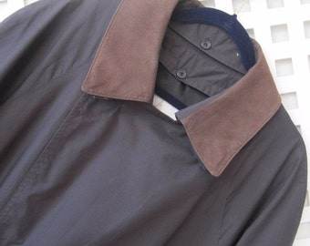 LONDON FOG Trench Coat Size 42 Mens Double Breasted Dark Navy Rain Vtg MJ112