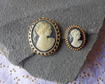 Vintage Set of Two Sizes Wedgewood Blue Cameo with Gold Trim Vintage Cameo Brooches/Pins Estate sale Find