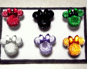 MINNIE MOUSE JEWELED Heads Colored 6pc Handmade Decorative Bulletin Board Push Pin Thumb Tacks