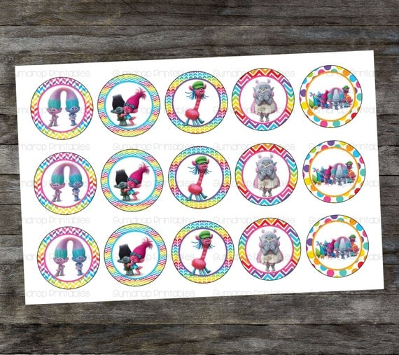 Trolls Printable Bottle Cap Designs