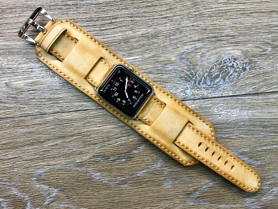 Handmade Apple Watch cuff band, Apple watch band, Vintage Leather Watch strap, Vintage beige Cuff band For Apple Watch 42mm, Series 1 & 2