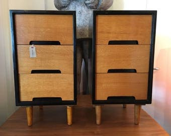 SOLD: Pair of 1960s Hand Crafted Stag C Range Bedside Cabinets. Vintage/Retro/Mid Century