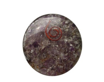 Amethyst Orgone Round Disc Reiki Healing with Free Shipping
