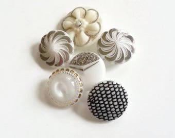 Czech glass buttons mixed lot cream and white silver and gold various sizes and designs