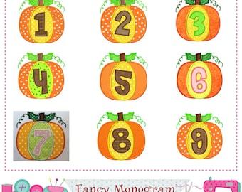 Thanksgiving Numbers applique,Pumpkin Numbers design,Numbers applique,Pumpkin applique,Thanksgiving applique,Birthday Numbers applique.-1408