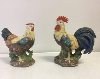 Rooster and Hen Lefton Bisque Figurine Set 01083