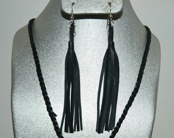 Tassel Earrings : Four inch Black Nappa Leather Tassel on Sterling Silver or Silver plated French hooks