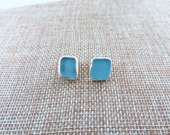 Aqua Sea Glass Sterling Stud Earrings