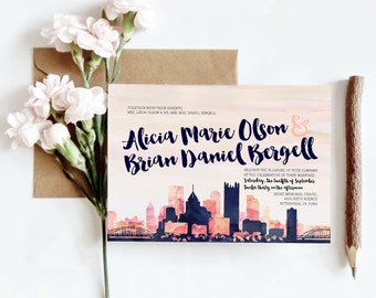 Nashville, TN Watercolor Skyline Wedding Invitations | 4 Piece Invitation Stationery Suite | CUSTOMIZED to Match Your Wedding