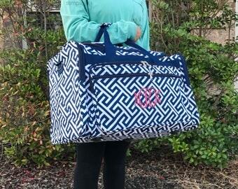 Navy Duffle Bag, Greek Key Duffle Bag, Women Duffel Bag, Women Overnight Bag, Cute Duffle Bag, Airline Carryon, Personalized Duffle, Gym Bag