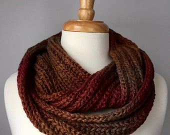 Knit Infinity Scarf - Handmade Brioche Stitch Scarf - Chunky Wool - Brown and Red