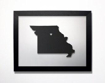 Missouri Map / Laser Cut Map / Missouri State Art / Missouri Art / Framed State Map / Missouri Gift / Wedding Gift / Anniversary Gift