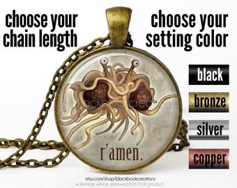 R'amen Atheist Necklace, Flying Spaghetti Monster, Atheist Pendant, Atheist Jewelry, Atheist Symbol, Atheism Necklace, Atheism Jewelry
