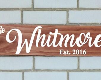 Custom last name sign, last name sign, wood name sign, wood sign, custom wood sign, wooden sign, name plaque, rustic sign, established sign