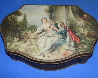 "advertising decorative box. box metal decorative very old metal box ""Alsa"" LA PASTORALE. antique COLLECTION"