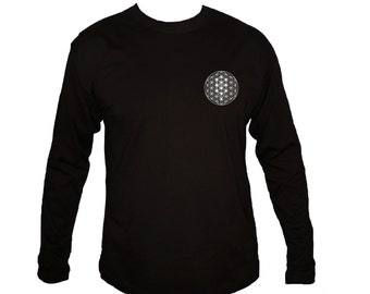 Sacred art Kabbalah symbols Tree of life black sleeved new t-shirt