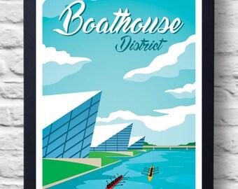 Oklahoma City Boathouse District Vintage Travel Poster Print, art, retro painting, gift
