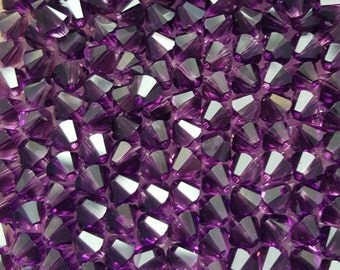 Swarovski 6mm Bicone Faceted Crystal Beads - Amethyst AB, 10, 20 or 50
