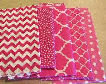 Pink Fabric Bundle, Remnant Fabric Bundle,  quilting fabric, craft fabric