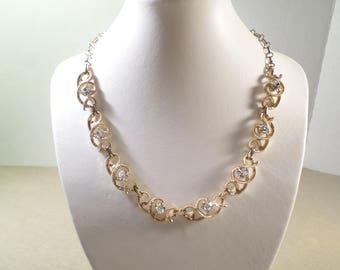 BRIDAL! Beautiful Vintage Gold Tone Crystal AB Rhinestone Choker Necklace  DL# 4628